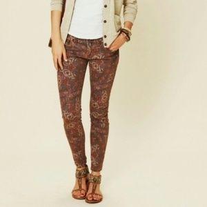 Free People Tribal Printed Skinny Jeans Size 27